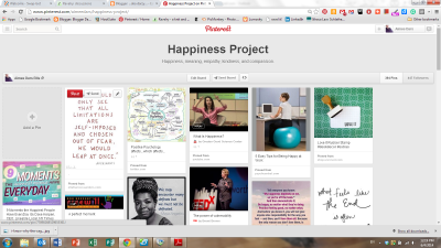 Screenshot of happiness project board on Pinterest.
